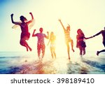 friendship freedom beach summer ... | Shutterstock . vector #398189410