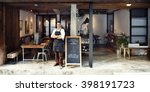 coffee shop cafe owner service... | Shutterstock . vector #398191723