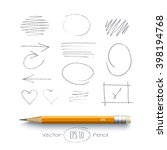 graphite yellow pencil with... | Shutterstock .eps vector #398194768