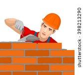 builder builds a brick wall. | Shutterstock .eps vector #398213290