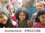 school children cheerful... | Shutterstock . vector #398221288