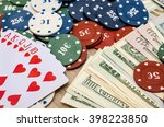 chips and cards for poker with... | Shutterstock . vector #398223850