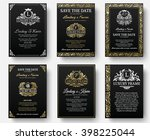 set of gold luxury flyer pages... | Shutterstock .eps vector #398225044