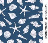 seamless pattern with seashells ... | Shutterstock .eps vector #398228824