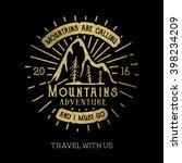 mountain adventure lettering | Shutterstock .eps vector #398234209