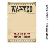 wanted poster on wood wall... | Shutterstock .eps vector #398235226