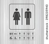 Wc   Toilet Icons Set. Men And...