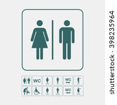 wc   toilet icons set. men and... | Shutterstock .eps vector #398235964