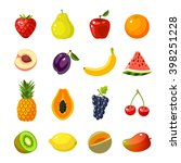 set of colorful cartoon fruit... | Shutterstock .eps vector #398251228