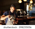 modern coffee shop with african ... | Shutterstock . vector #398255056