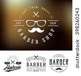 set of barber shop logo and... | Shutterstock .eps vector #398260243