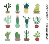 cactus collection in vector... | Shutterstock .eps vector #398262520