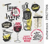 sketched styled wine elements   ...   Shutterstock .eps vector #398277046