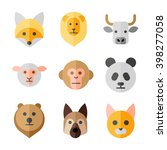 animals heads vector flat icons ... | Shutterstock .eps vector #398277058