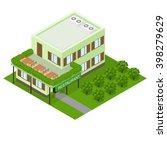 green vegetarian eco cafe. flat ...   Shutterstock .eps vector #398279629