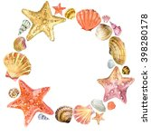 Watercolor Seashells. Wreath O...
