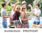 group of friends dancing at... | Shutterstock . vector #398294269