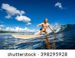 surfer with long white hair... | Shutterstock . vector #398295928