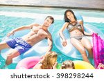 happy friends enjoying their... | Shutterstock . vector #398298244