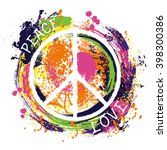 hippie peace symbol. peace and...   Shutterstock .eps vector #398300386