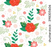 vector floral pattern with... | Shutterstock .eps vector #398305606