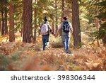 couple holding hands walking in ... | Shutterstock . vector #398306344