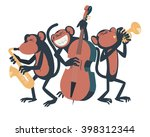 Three Monkeys Playing Jazz. On...
