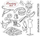 sewing set with scissors ... | Shutterstock .eps vector #398316733