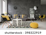spacious  grey living room with ... | Shutterstock . vector #398322919