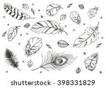 hand drawn doodle feathers.... | Shutterstock . vector #398331829