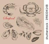 vector hand drawn sea food... | Shutterstock .eps vector #398334148