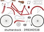 bicycle parts set vector cartoon | Shutterstock .eps vector #398340538