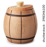 Small photo of Small wooden barrel with slightly ajar cover isolated on white background closeup with clip path
