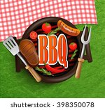 bbq grill elements  ... | Shutterstock .eps vector #398350078