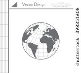 globe icon with vector map of... | Shutterstock .eps vector #398351608