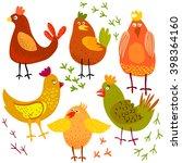 cute cartoon chicken vector... | Shutterstock .eps vector #398364160