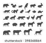 black silhouettes farm and wild ... | Shutterstock . vector #398368864