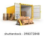 open container pallets with... | Shutterstock . vector #398372848