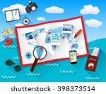 planning trip concept at table... | Shutterstock .eps vector #398373514