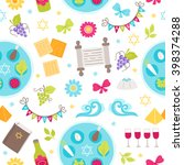 passover seamless pattern with... | Shutterstock .eps vector #398374288