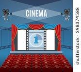 cinema hall design over blue... | Shutterstock .eps vector #398374588