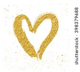 Golden Glitter Isolated Hearts...