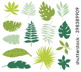 set of tropical leaves | Shutterstock .eps vector #398389909