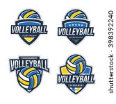 volleyball logo badge  american ... | Shutterstock .eps vector #398392240