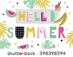 hello summer poster with... | Shutterstock .eps vector #398398594