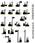 silhouettes of forklifts on the ... | Shutterstock .eps vector #398409538