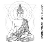 sitting buddha isolated on...   Shutterstock .eps vector #398410354