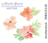 hand painted watercolor flowers....   Shutterstock .eps vector #398415118