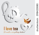 the image of a teapot and cup ... | Shutterstock .eps vector #398420080
