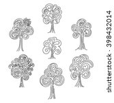 doodle curly tree set isolated... | Shutterstock .eps vector #398432014